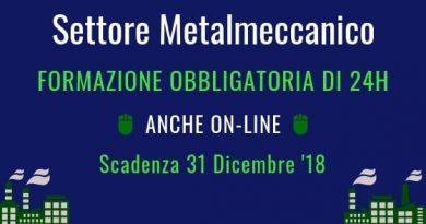 Formazione Obbligatoria per i Lavoratori del Metalmeccanico, realizzabile anche online